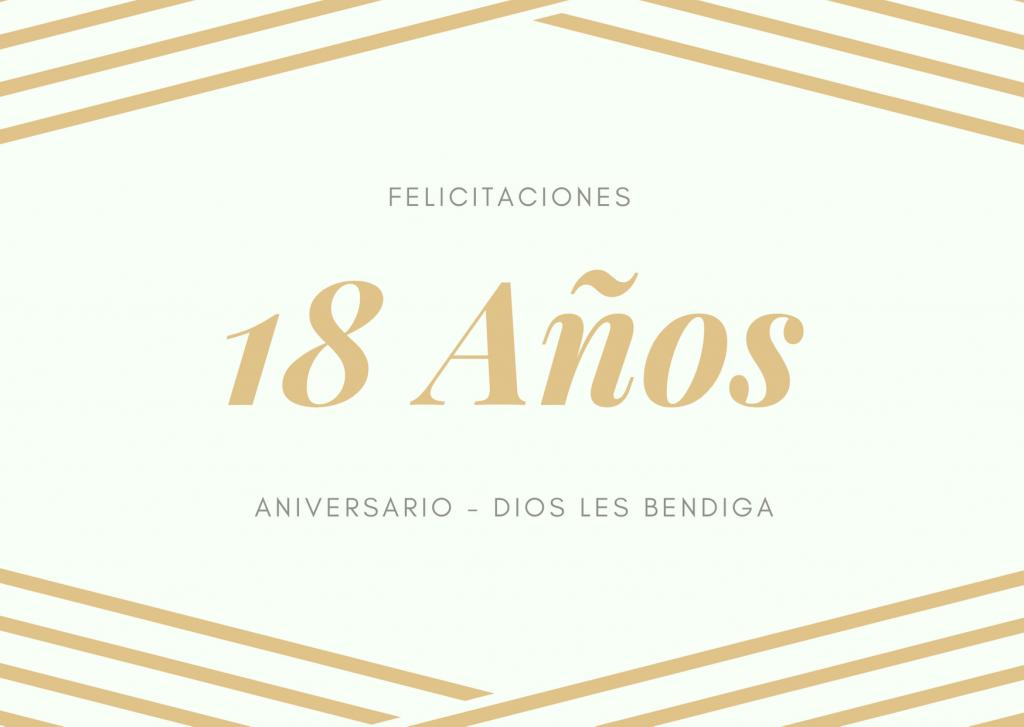 Felicitaciones de Aniversario de bodas 18 años