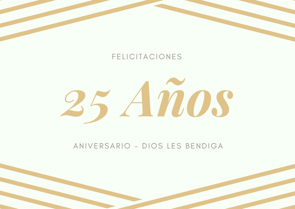 Felicitaciones de aniversario de 25 años de casados