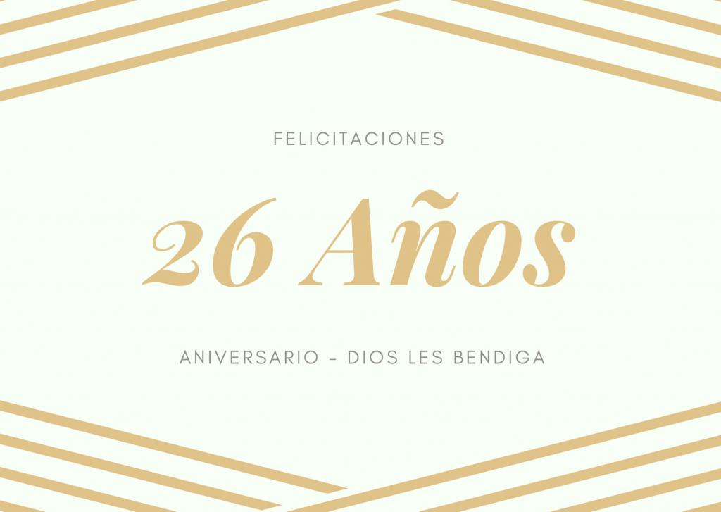 Felicitaciones de Aniversario de bodas 26 años