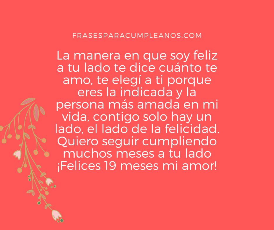Mensajes De Feliz 19 Meses Mi Amor Frasescumple